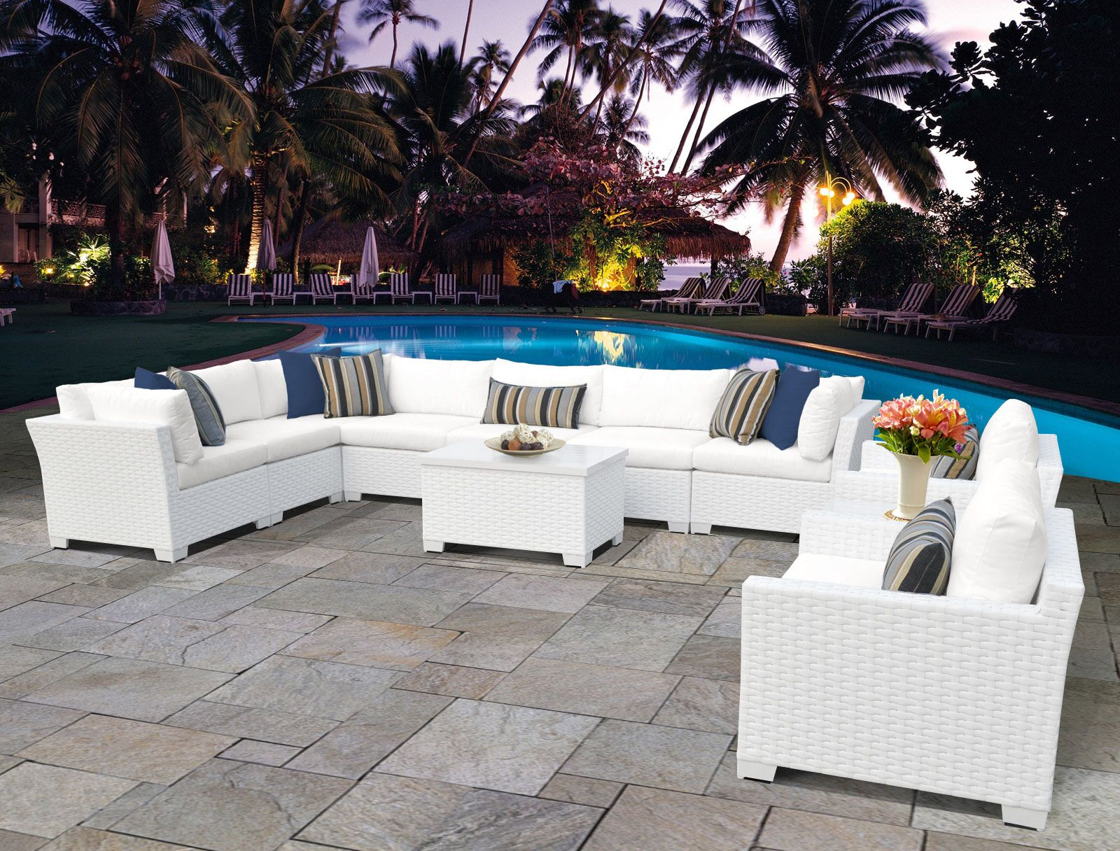 Monaco 11 Piece Sectional Set with Cushions Cushion Color (Fabric): White