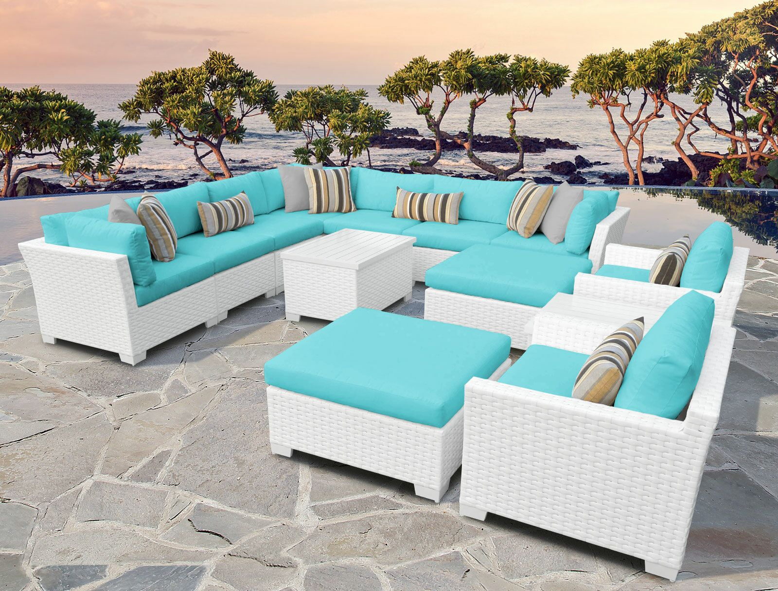 Monaco 13 Piece Sectional Set with Cushions Cushion Color (Fabric): Aruba