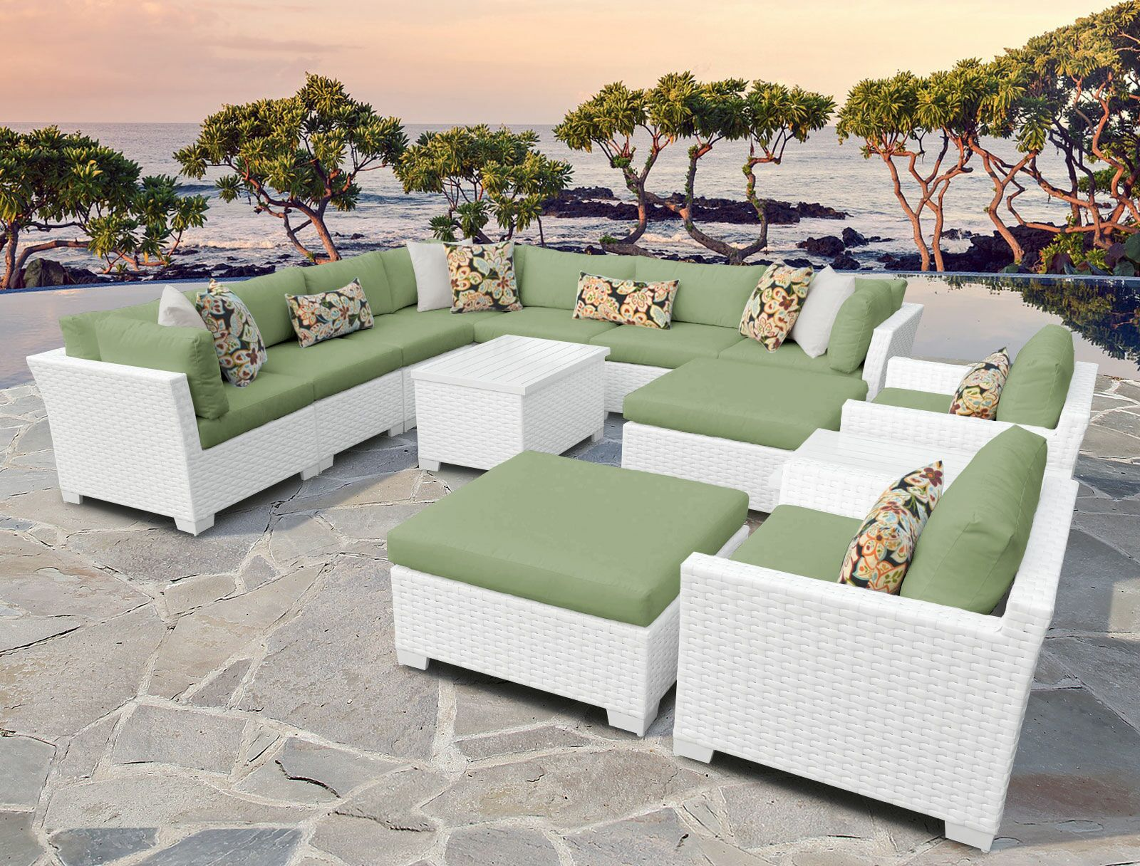 Monaco 13 Piece Sectional Set with Cushions Cushion Color (Fabric): Cilantro