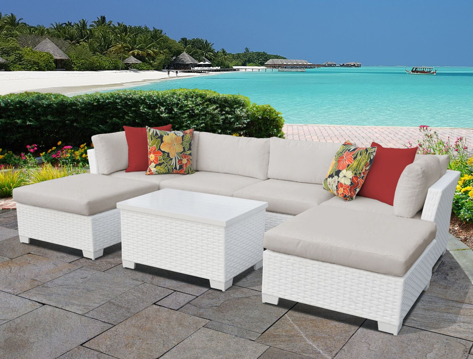 Monaco 7 Piece Sectional Set with Cushions Cushion Color (Fabric): Beige