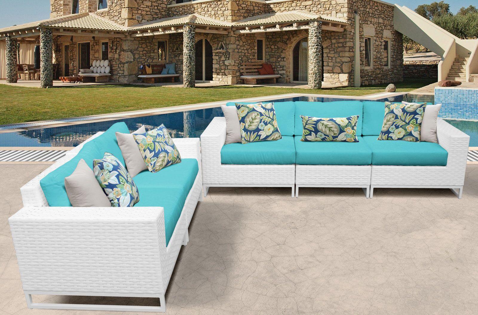 Miami 5 Piece Sofa Set with Cushions Color: Aruba