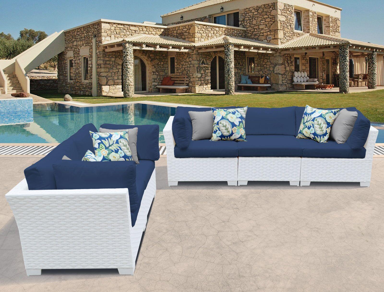 Monaco 5 Piece Sofa Set with Cushions Color: Navy