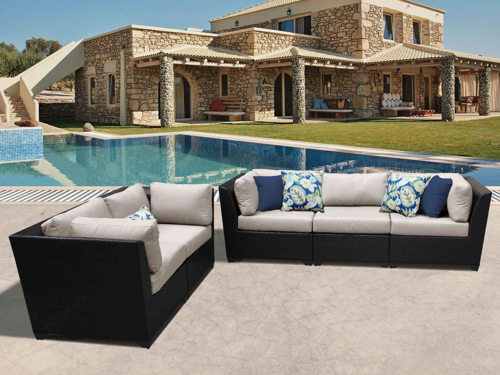 Barbados 5 Piece Sofa Set with Cushions Color: Beige