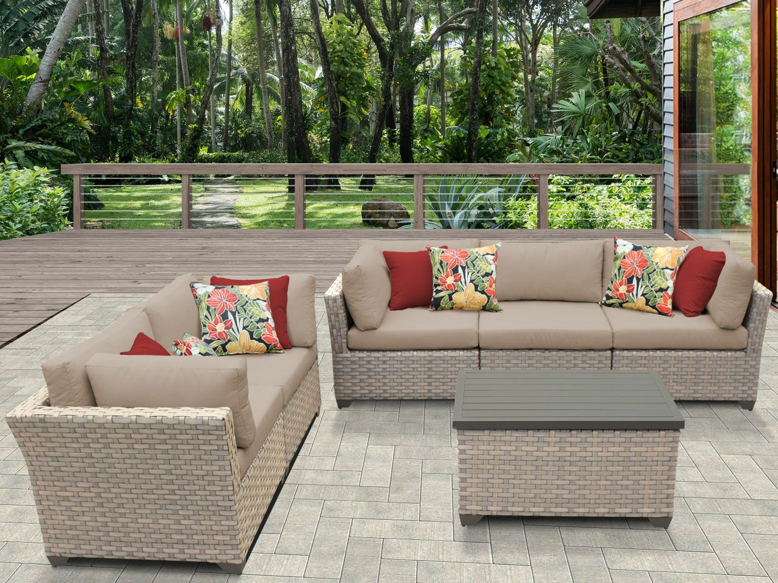 Monterey 6 Piece Sofa Set with Cushions Color: Wheat
