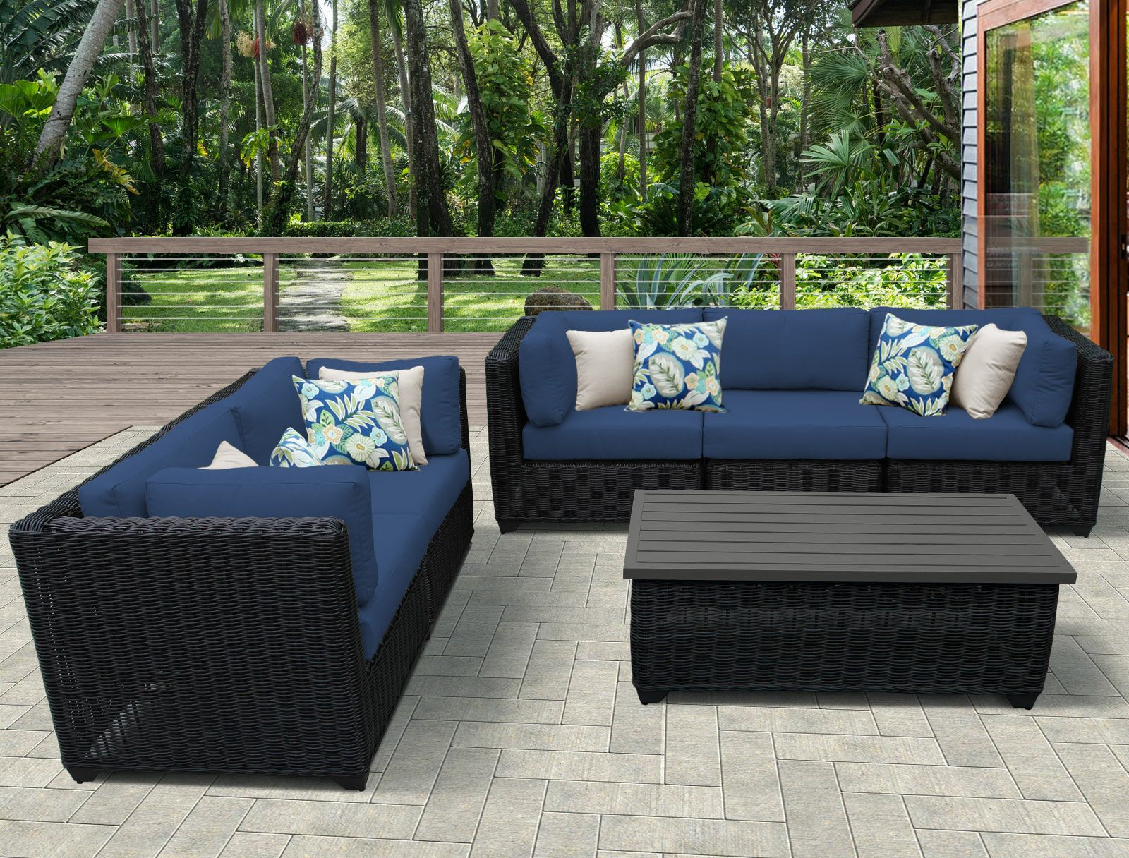 Eldredge 6 Piece Sectional Set with Cushions Color: Navy