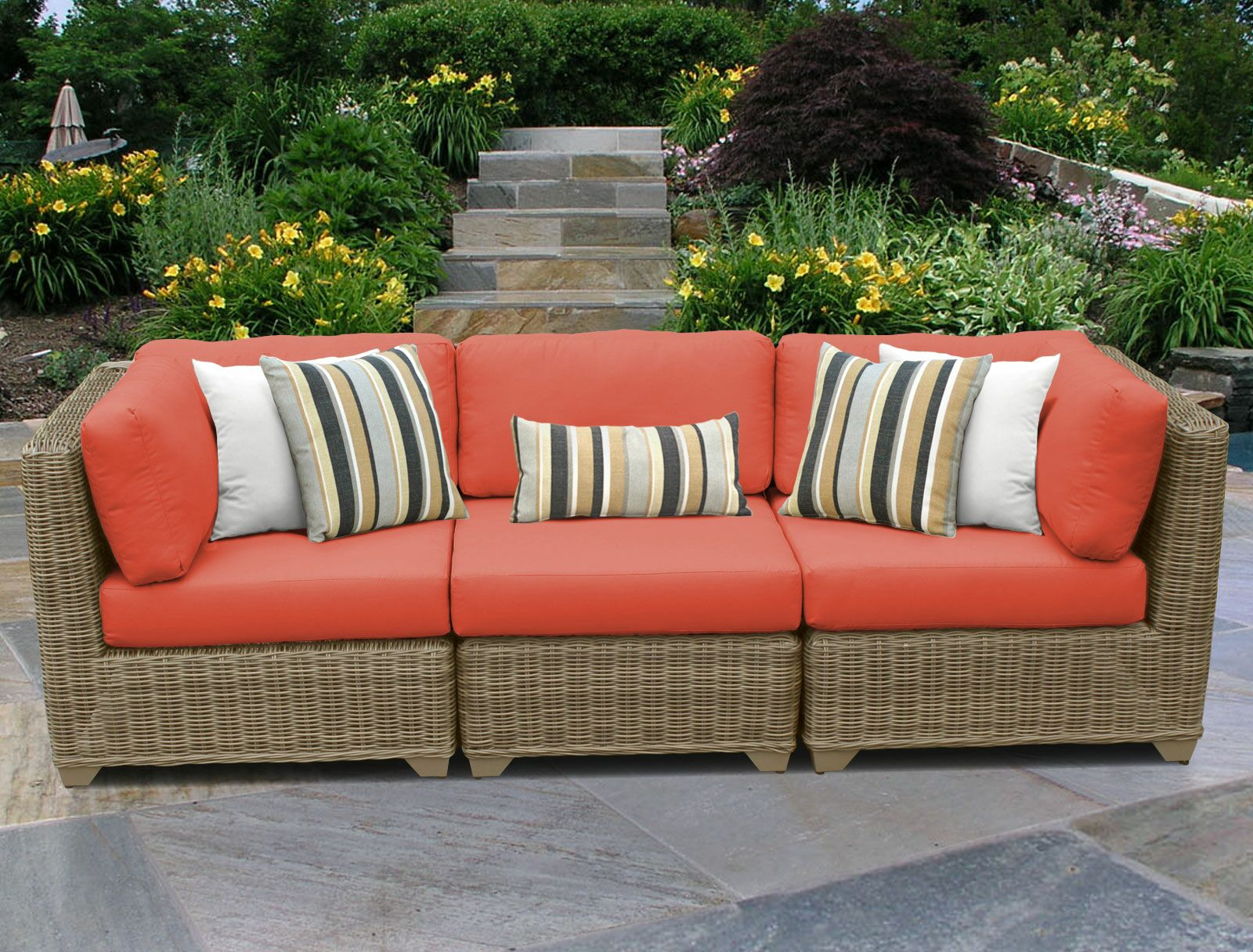 Cape Cod Corner Armless Sectional Piece with Cushions Color: Tangerine