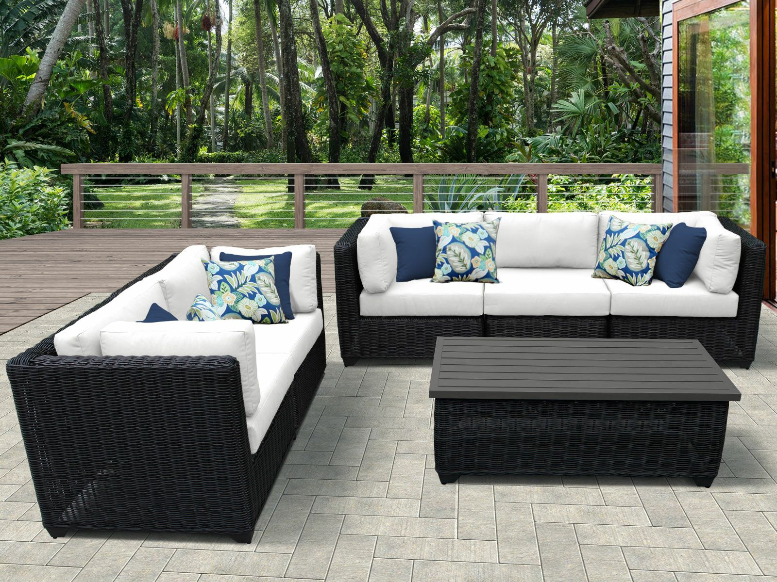 Eldredge 6 Piece Sectional Set with Cushions Color: White