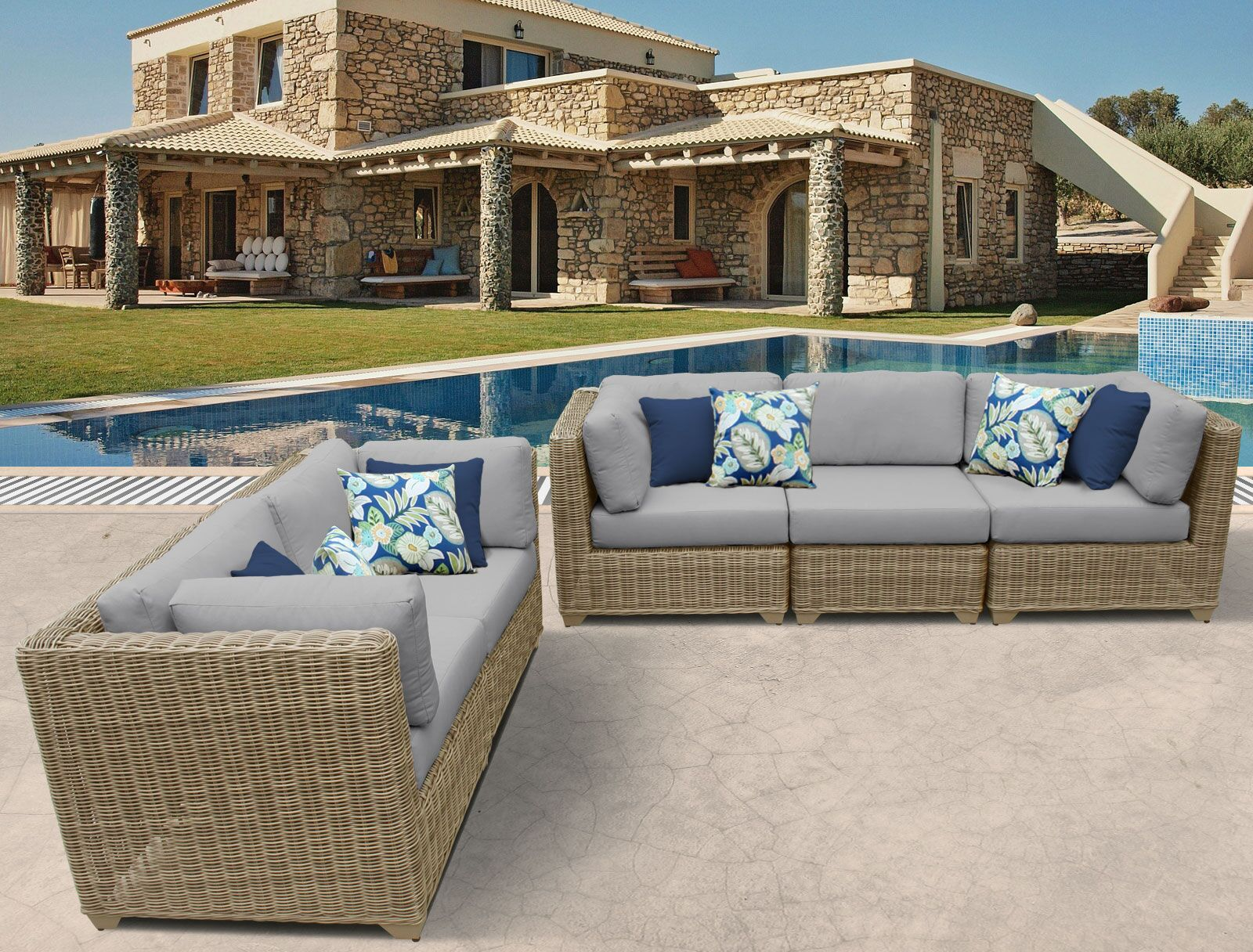 Cape Cod 5 Piece Sofa Set with Cushions Color: Gray