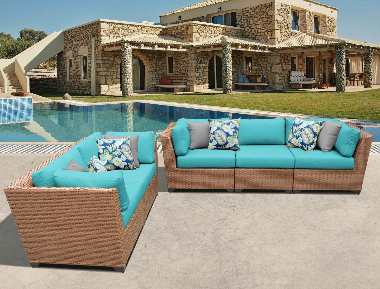 East Village 5 Piece Sectional Set with Cushions Color: Aruba