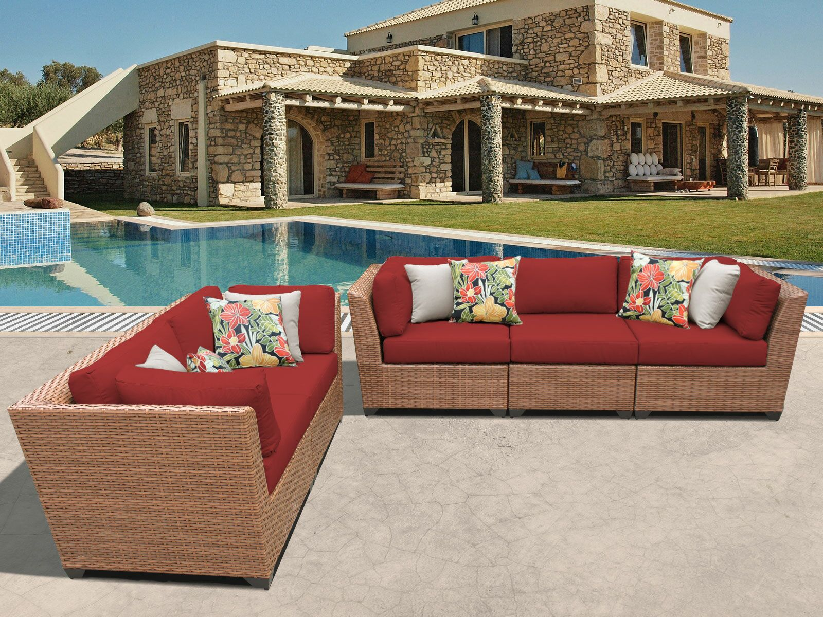 East Village 5 Piece Sectional Set with Cushions Color: Terracotta