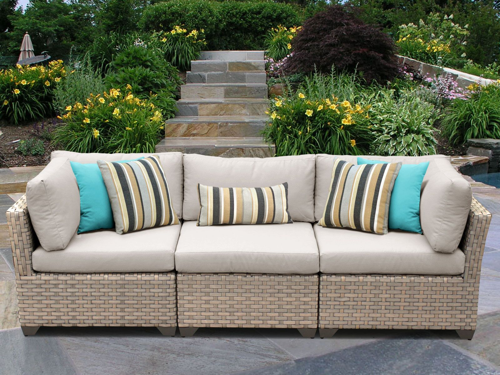 Monterey Corner Armless Sectional Piece with Cushions Color: Beige
