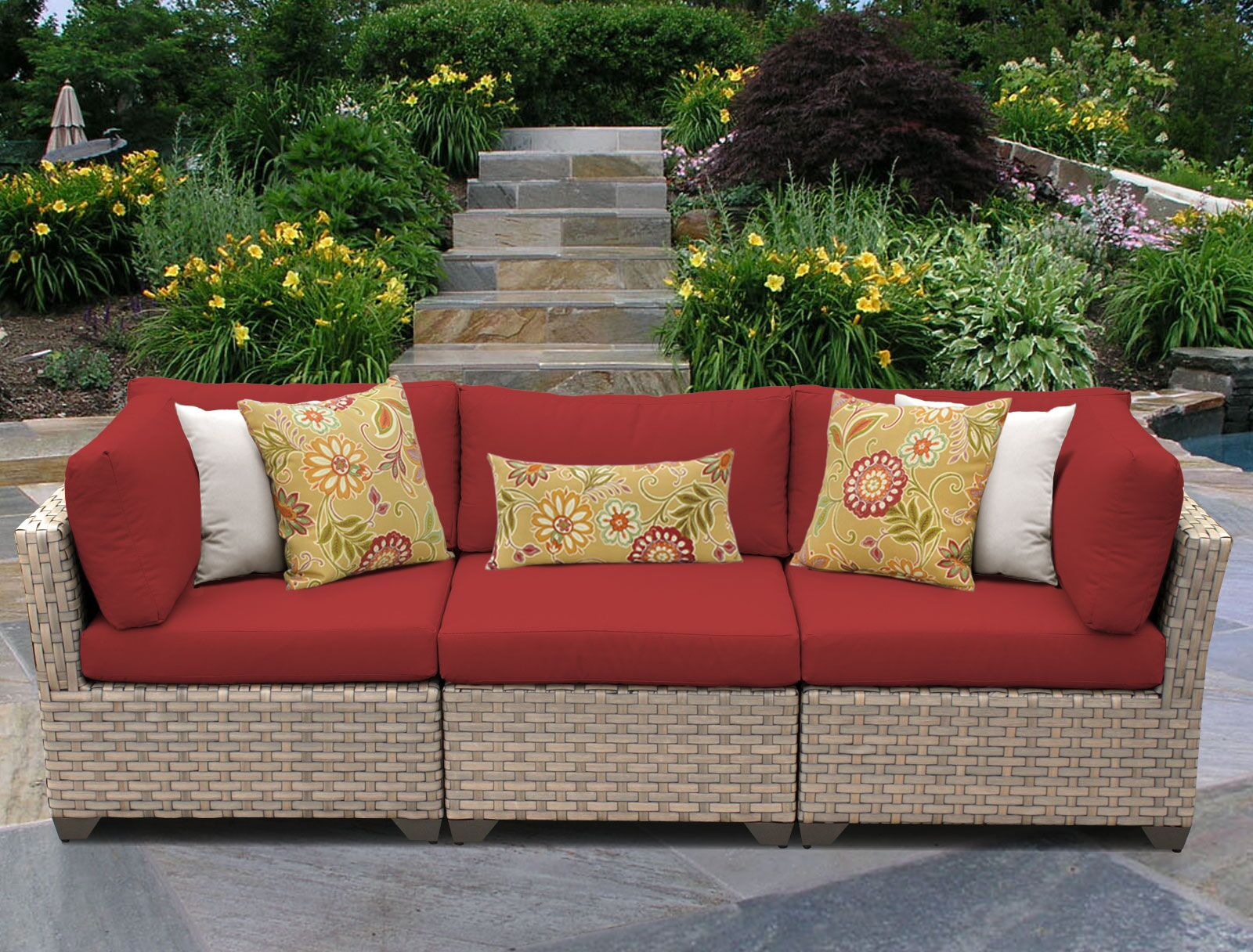 Monterey Corner Armless Sectional Piece with Cushions Color: Terracotta