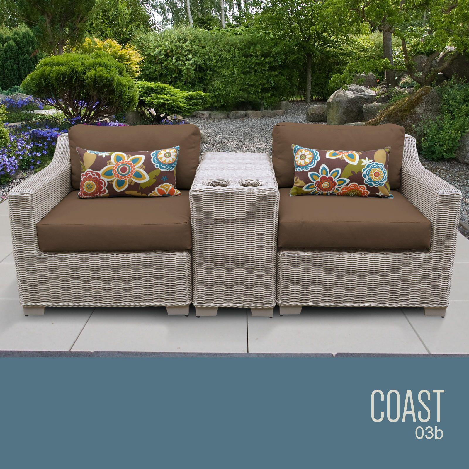 Coast 3 Piece Conversation Set with Cushions Cushion Color (Fabric): Cocoa