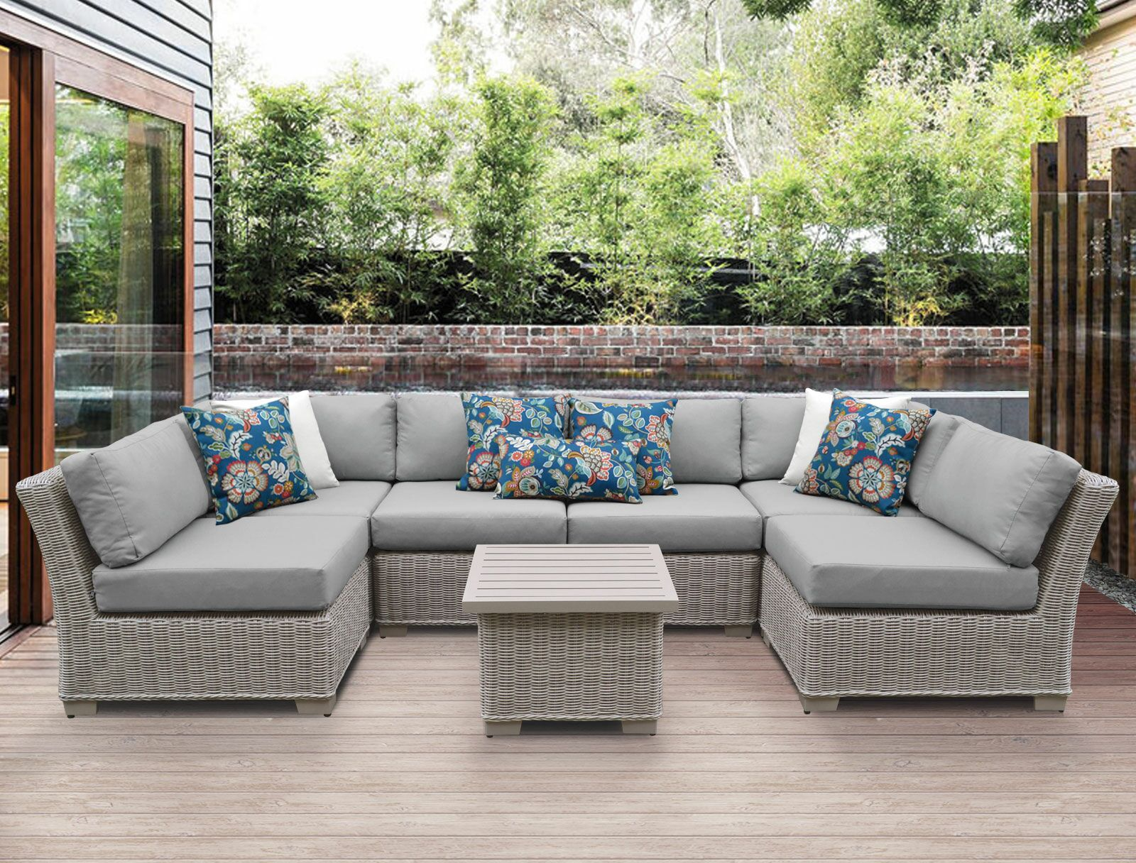 Coast 7 Piece Sectional Set with Cushions Cushion Color: Gray