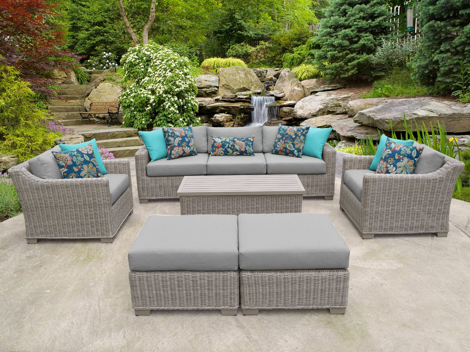 Coast 8 Piece Sofa Set with Cushions Cushion Color: Gray