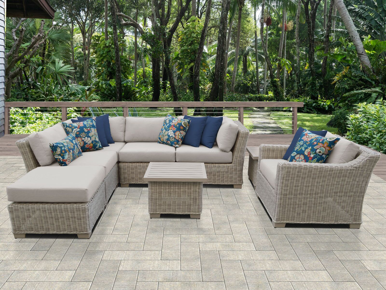 Coast 8 Piece Sectional Set with Cushions Cushion Color: Beige