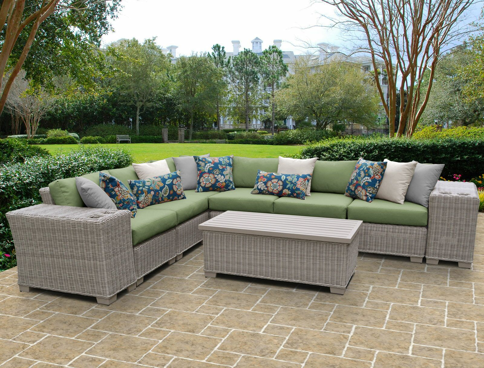 Coast 9 Piece Sectional Set with Cushions Cushion Color: Cilantro