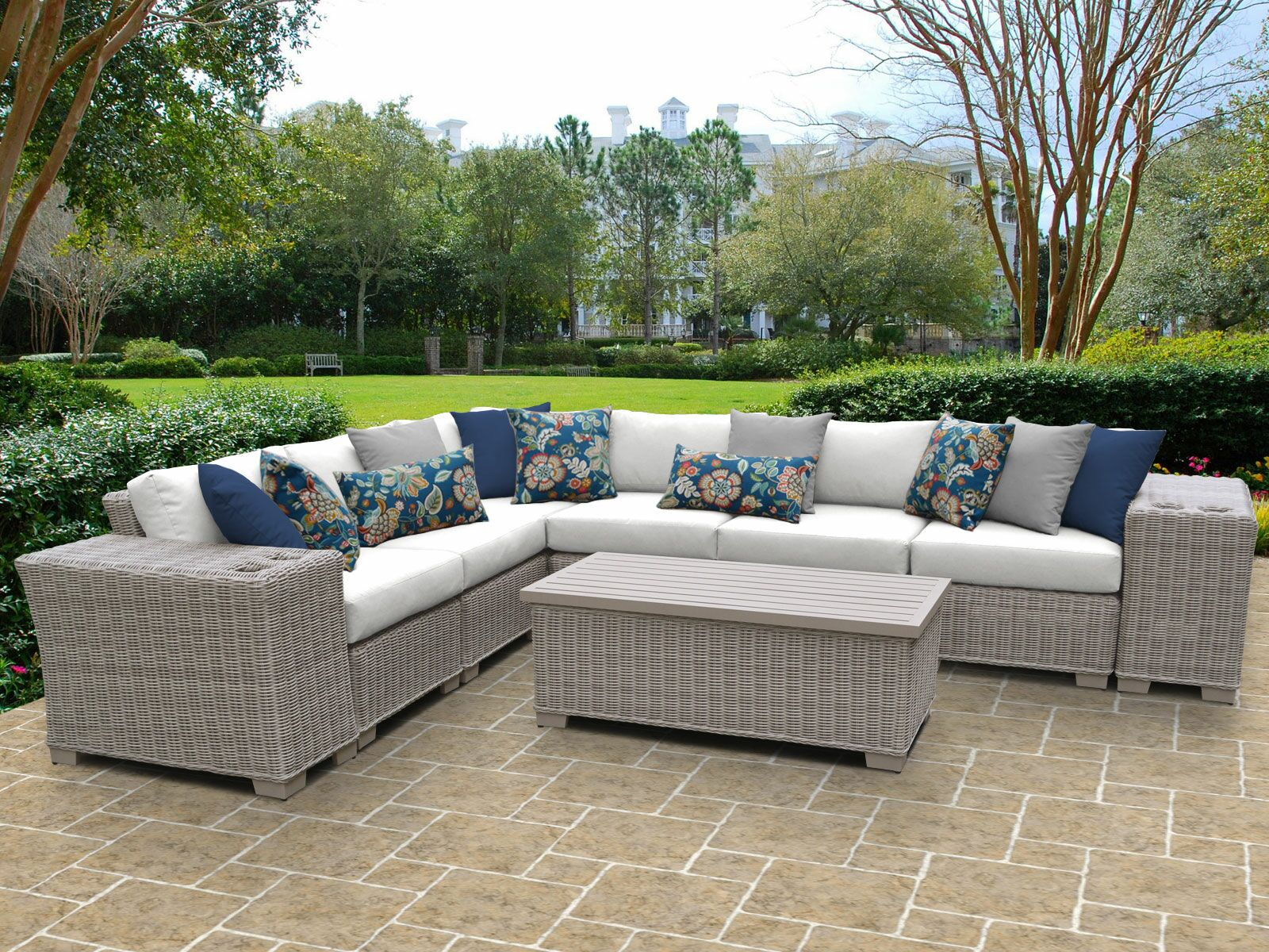 Coast 9 Piece Sectional Set with Cushions Cushion Color: White