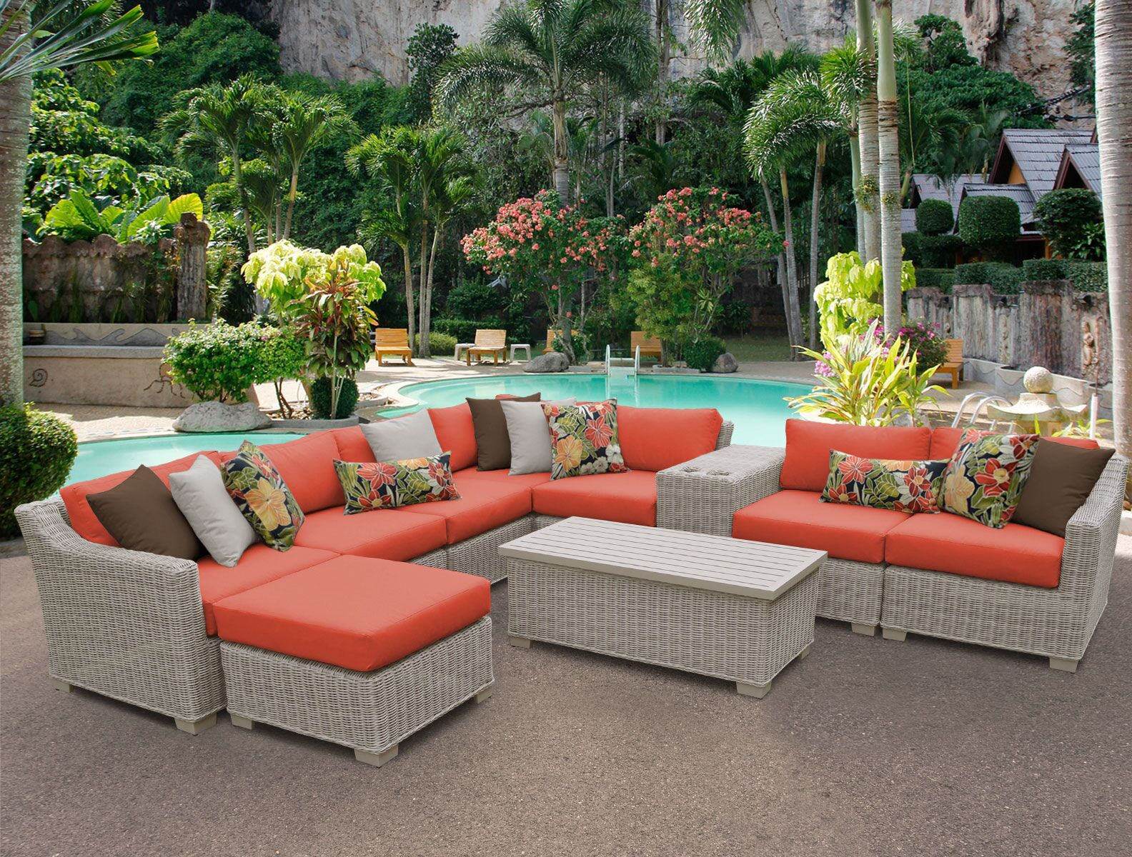 Coast 10 Piece Sectional Set with Cushions Cushion Color: Tangerine