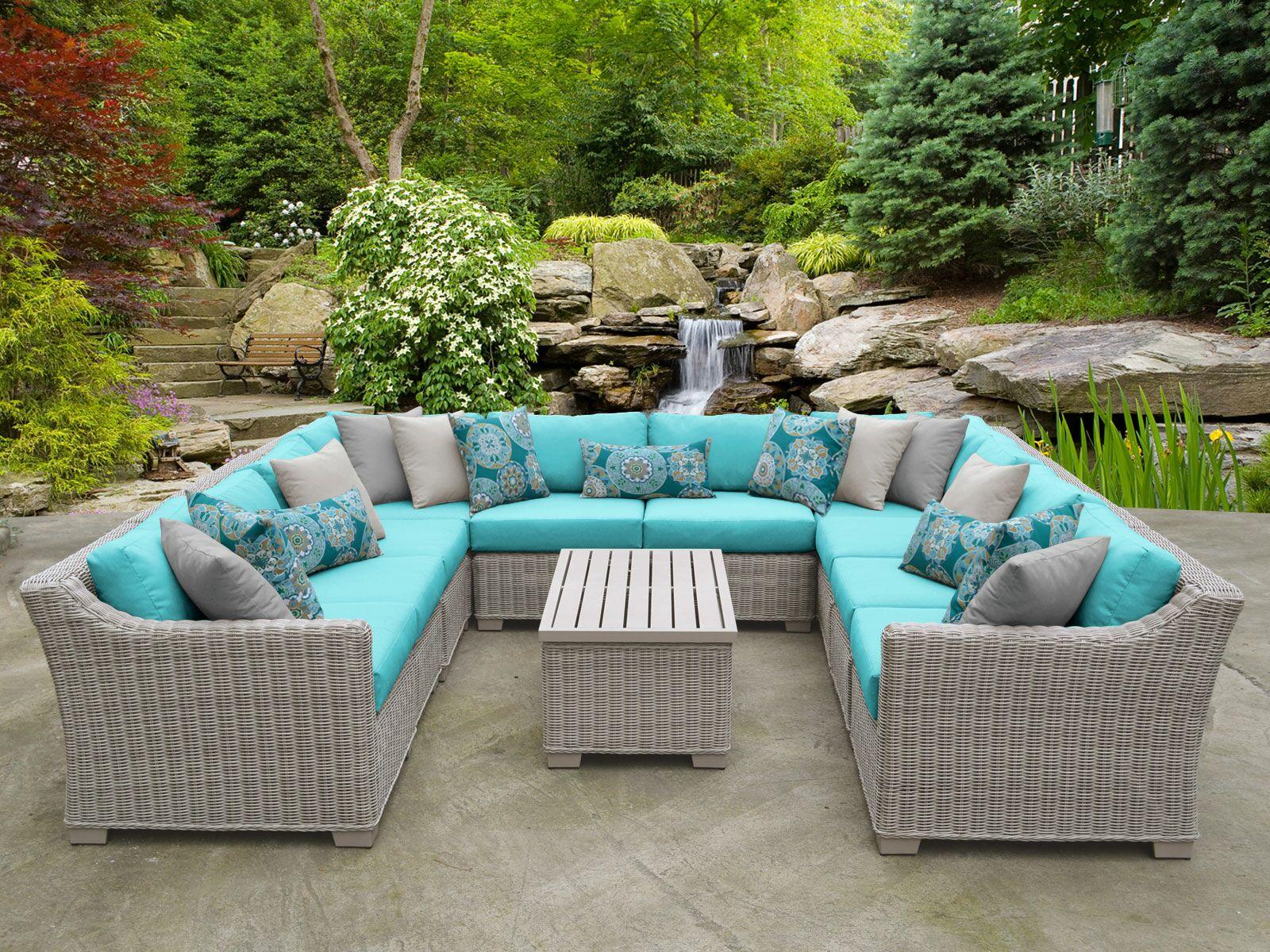 Coast 11 Piece Sectional Set with Cushions Cushion Color: Aruba