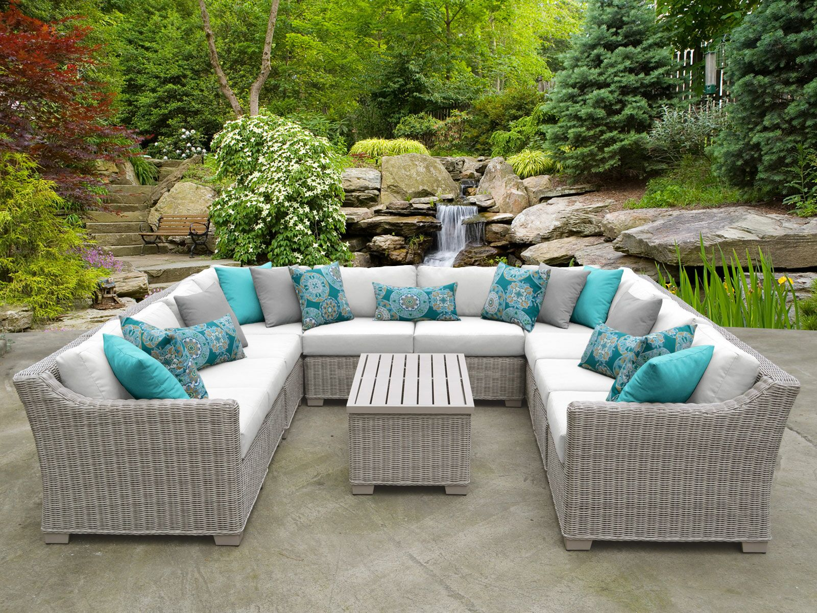 Coast 11 Piece Sectional Set with Cushions Cushion Color: White
