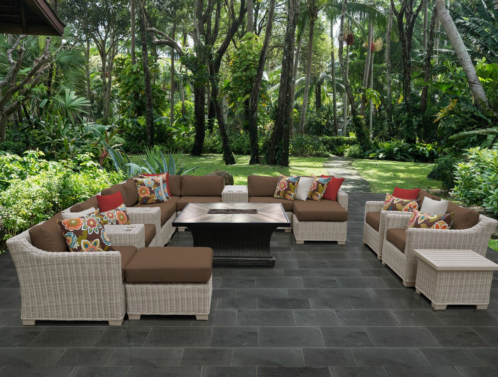 Coast 17 Piece Sectional Set with Cushions Cushion Color: Cocoa