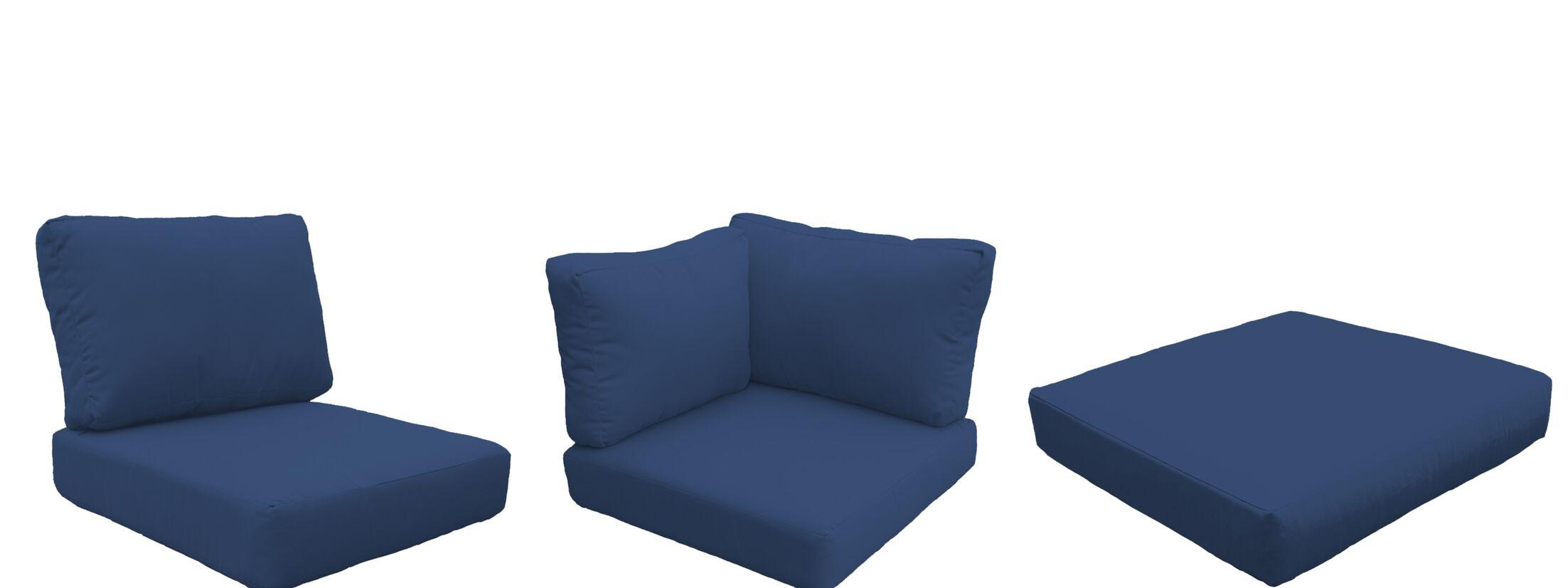 Barbados 22 Piece Outdoor Cushion Set Fabric: Navy
