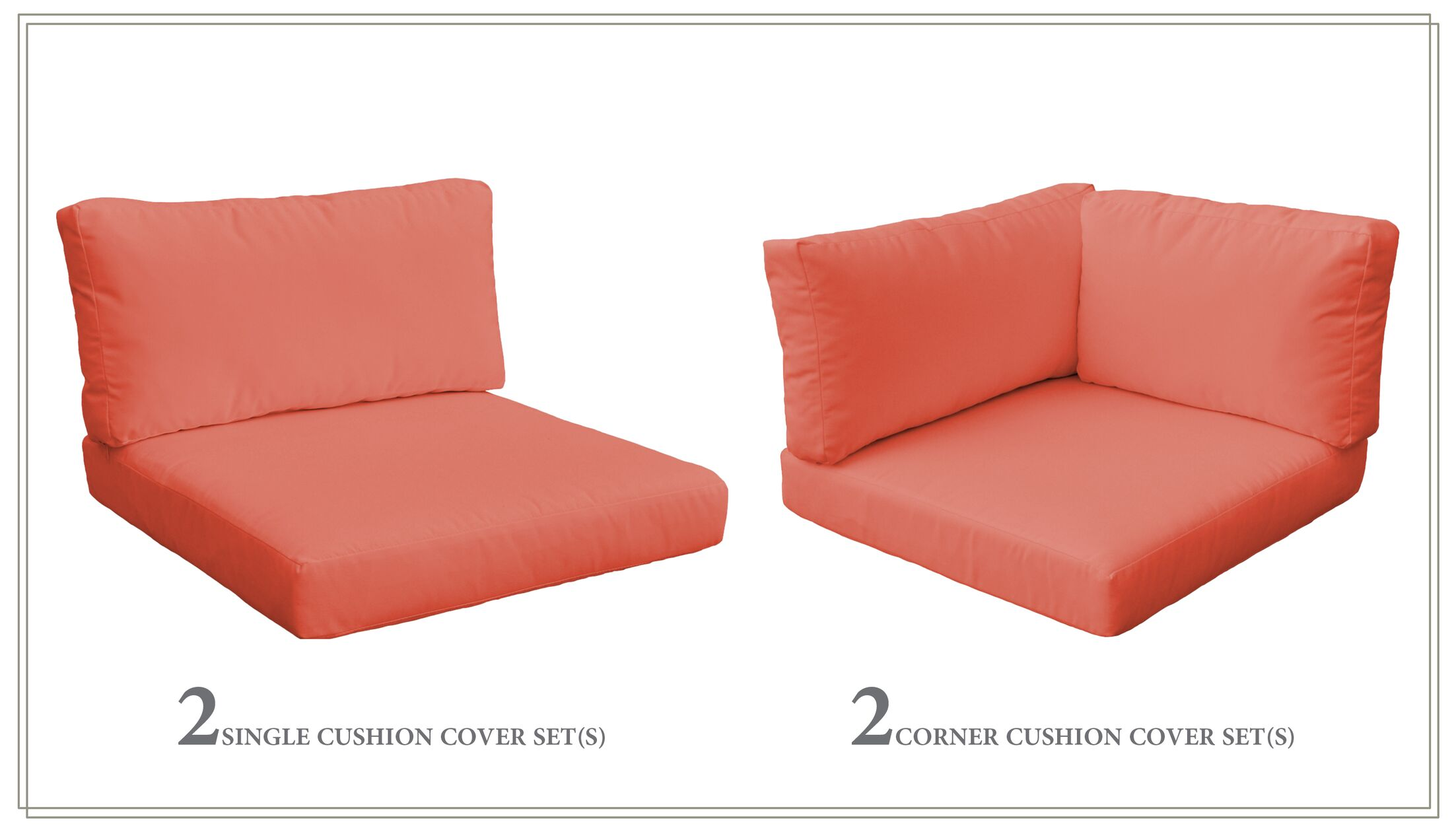 Monterey 10 Piece Outdoor Cushion Set Fabric: Tangerine