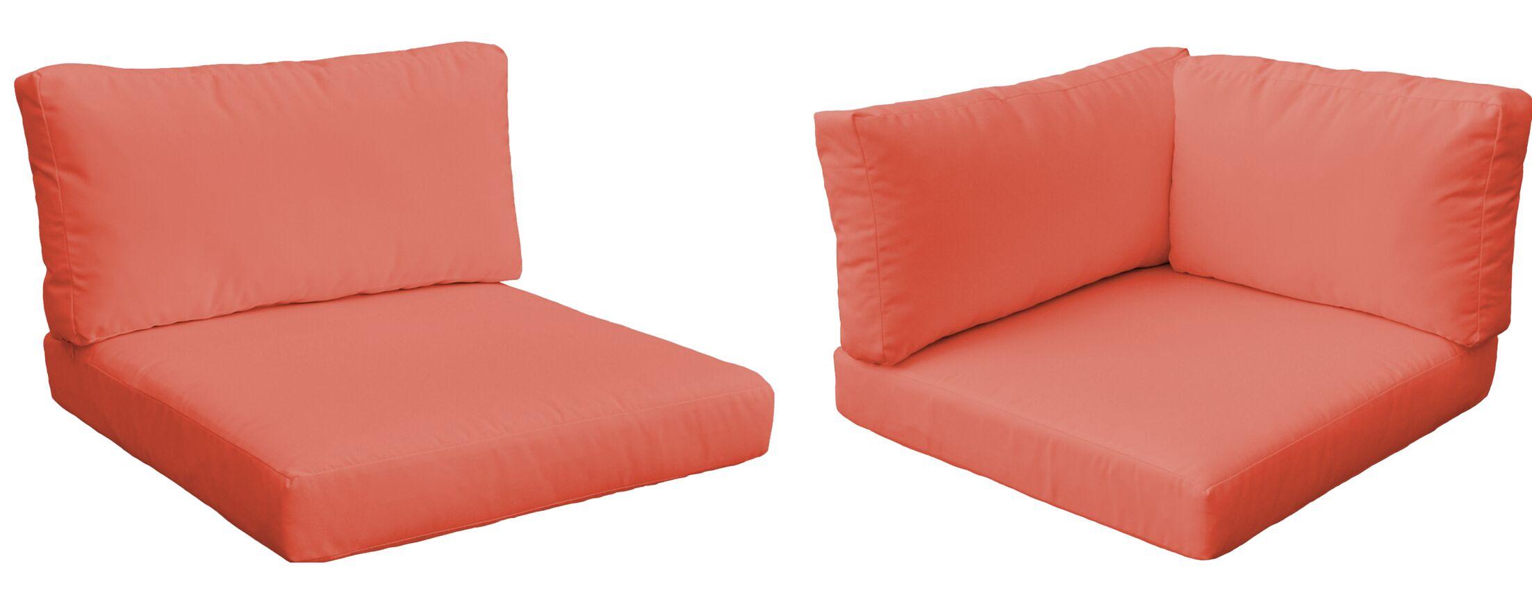 Monaco Outdoor 17 Piece Lounge Chair Cushion Set Fabric: Tangerine