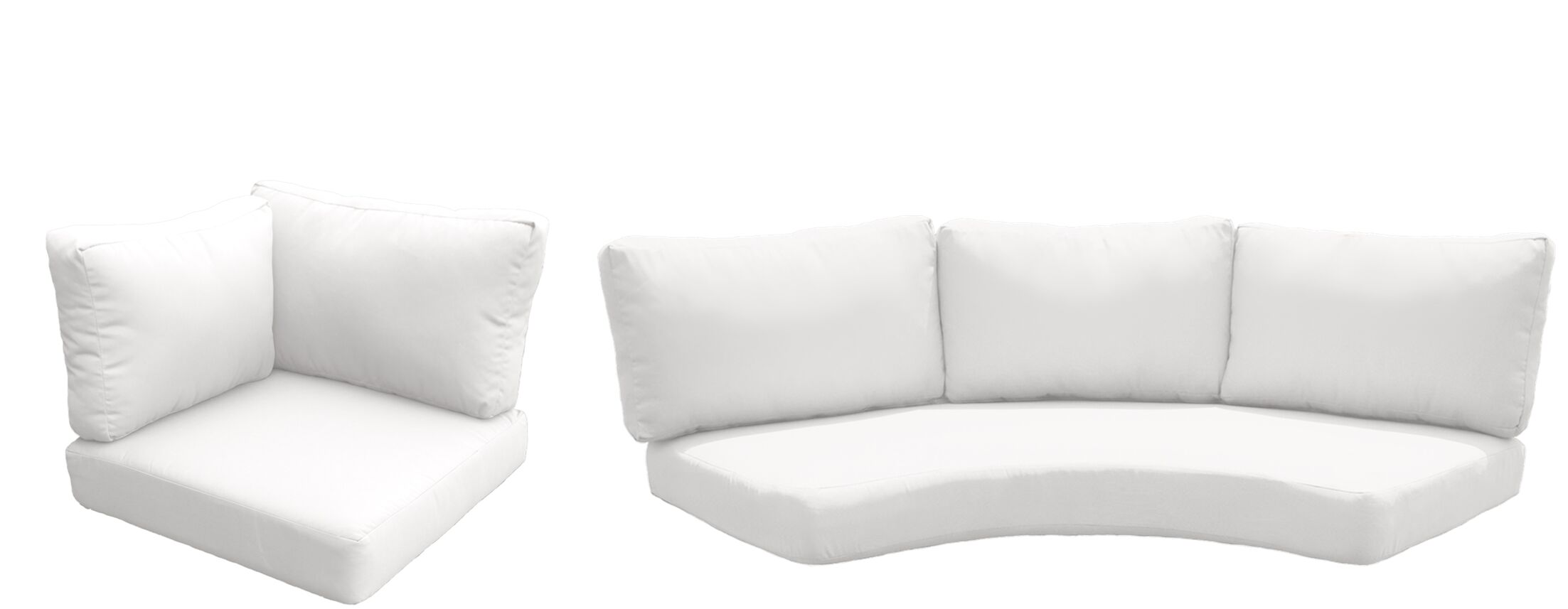 East Village Outdoor 10 Piece Lounge Chair Cushion Set Fabric: White