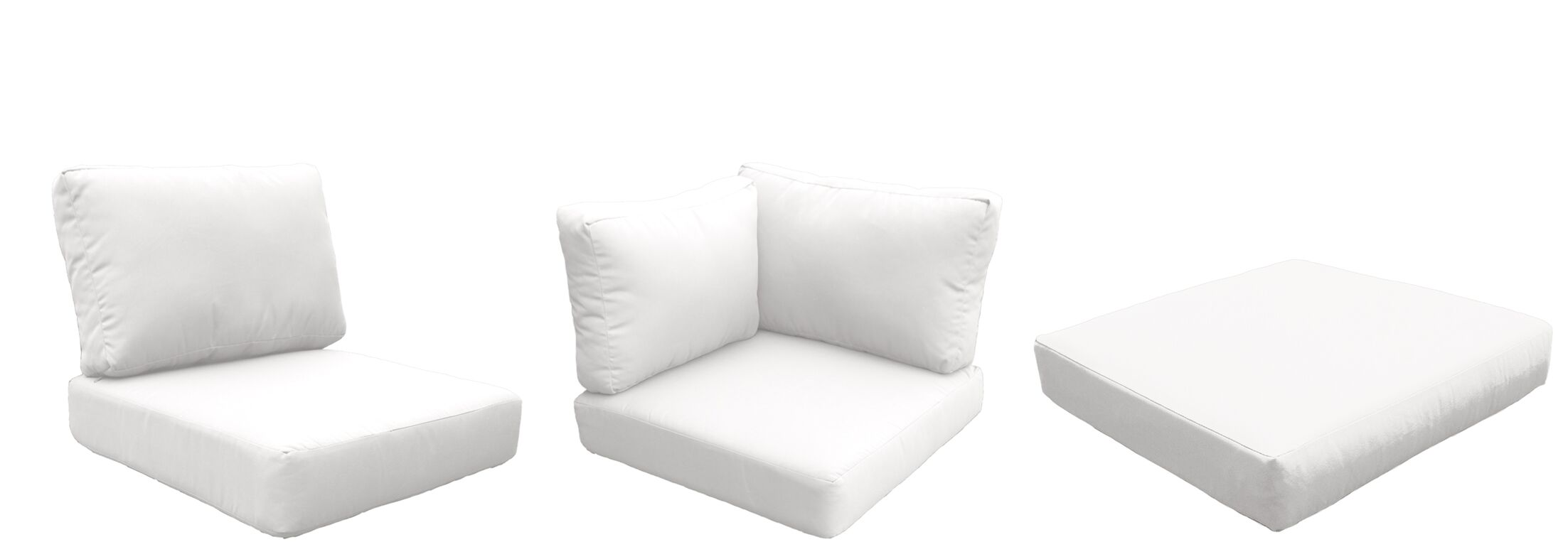 Fairmont Outdoor 19 Piece Lounge Chair Cushion Set Fabric: White
