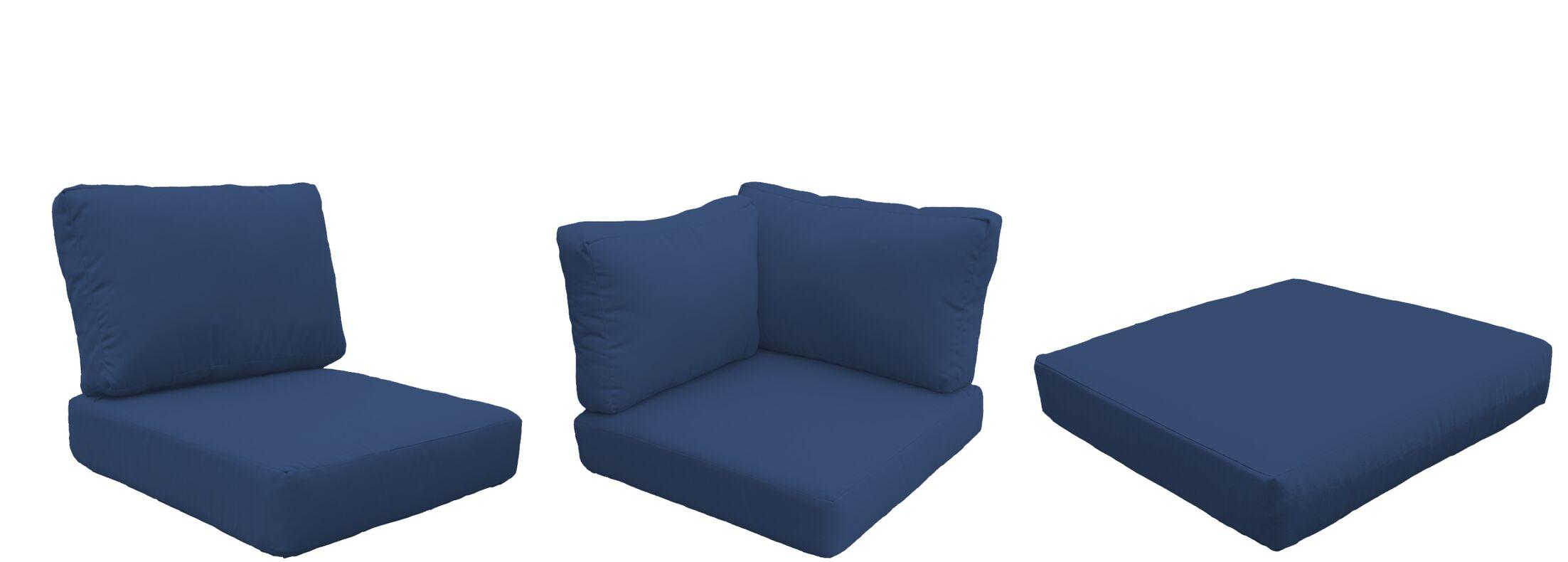 Eldredge Outdoor 18 Piece Lounge Chair Cushion Set Fabric: Navy
