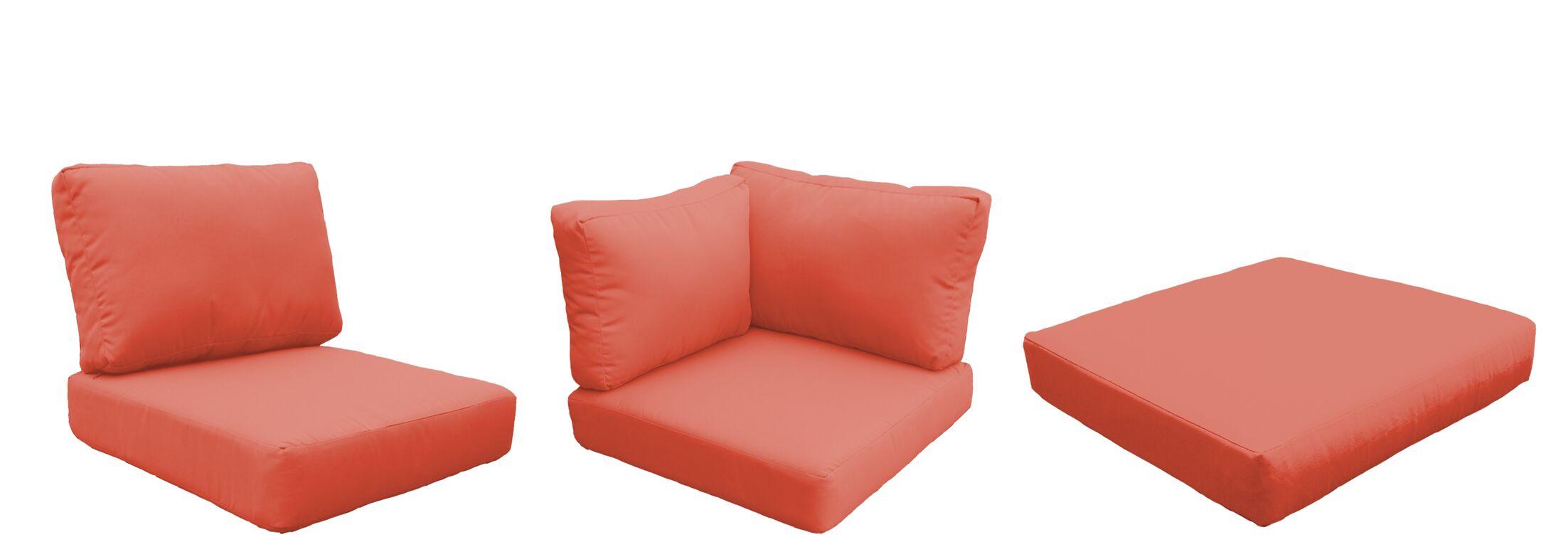 Eldredge Outdoor 16 Piece Lounge Chair Cushion Set Fabric: Tangerine