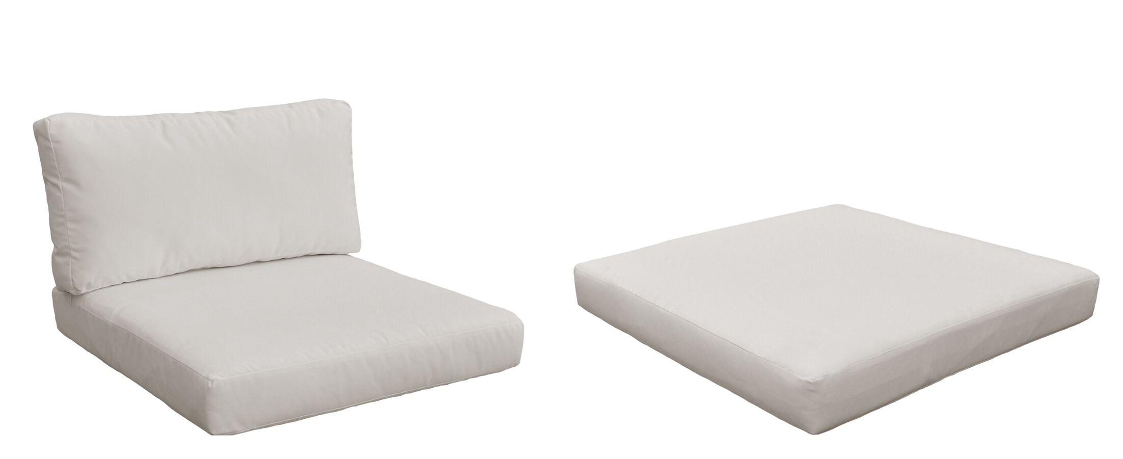 Monaco Outdoor 6 Piece Lounge Chair Cushion Set Fabric: Beige