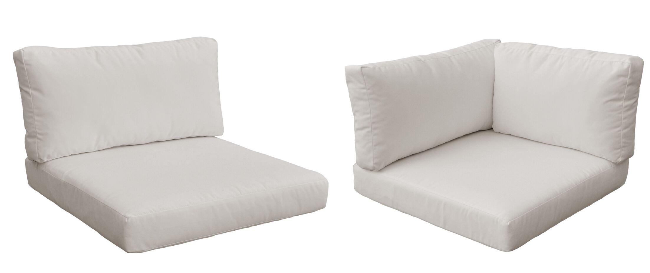 Monaco Outdoor 10 Piece Lounge Chair Cushion Set Fabric: Beige