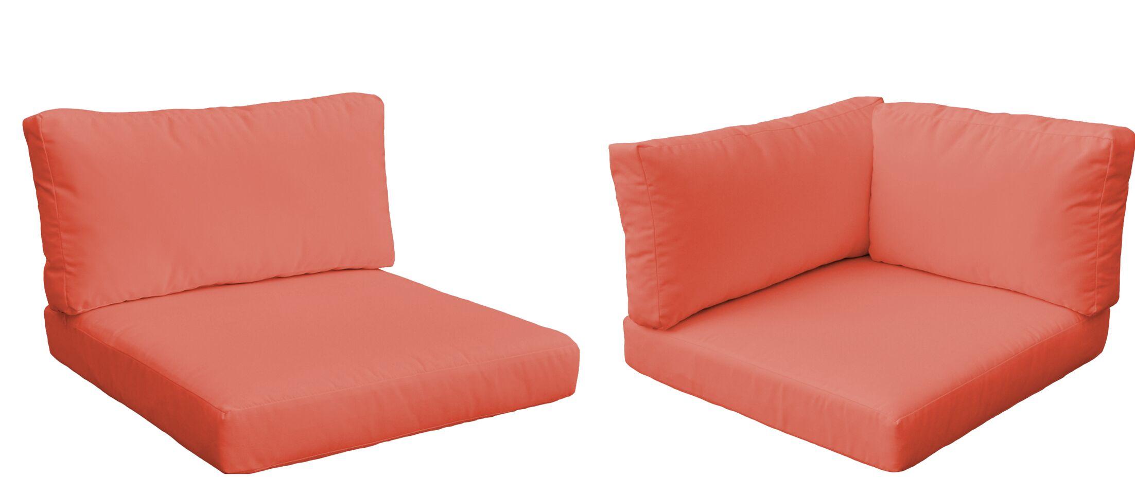 Monaco Outdoor 10 Piece Lounge Chair Cushion Set Fabric: Tangerine