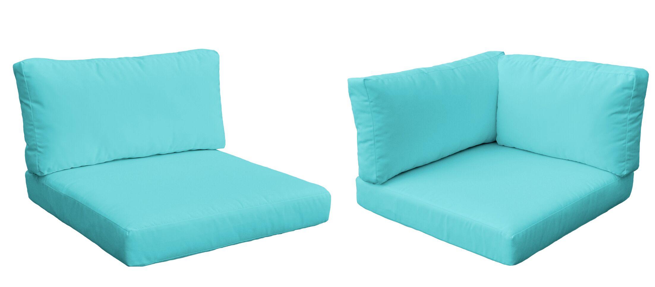 Monaco Outdoor 10 Piece Lounge Chair Cushion Set Fabric: Aruba