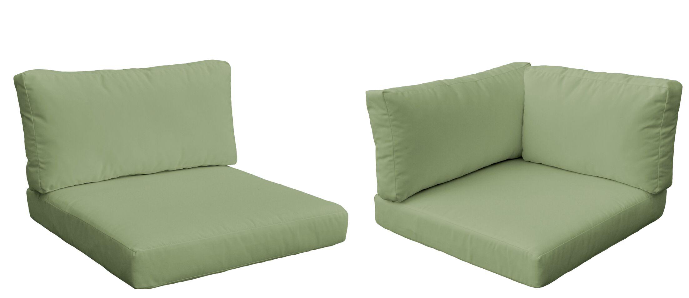 Monaco Outdoor 10 Piece Lounge Chair Cushion Set Fabric: Cilantro