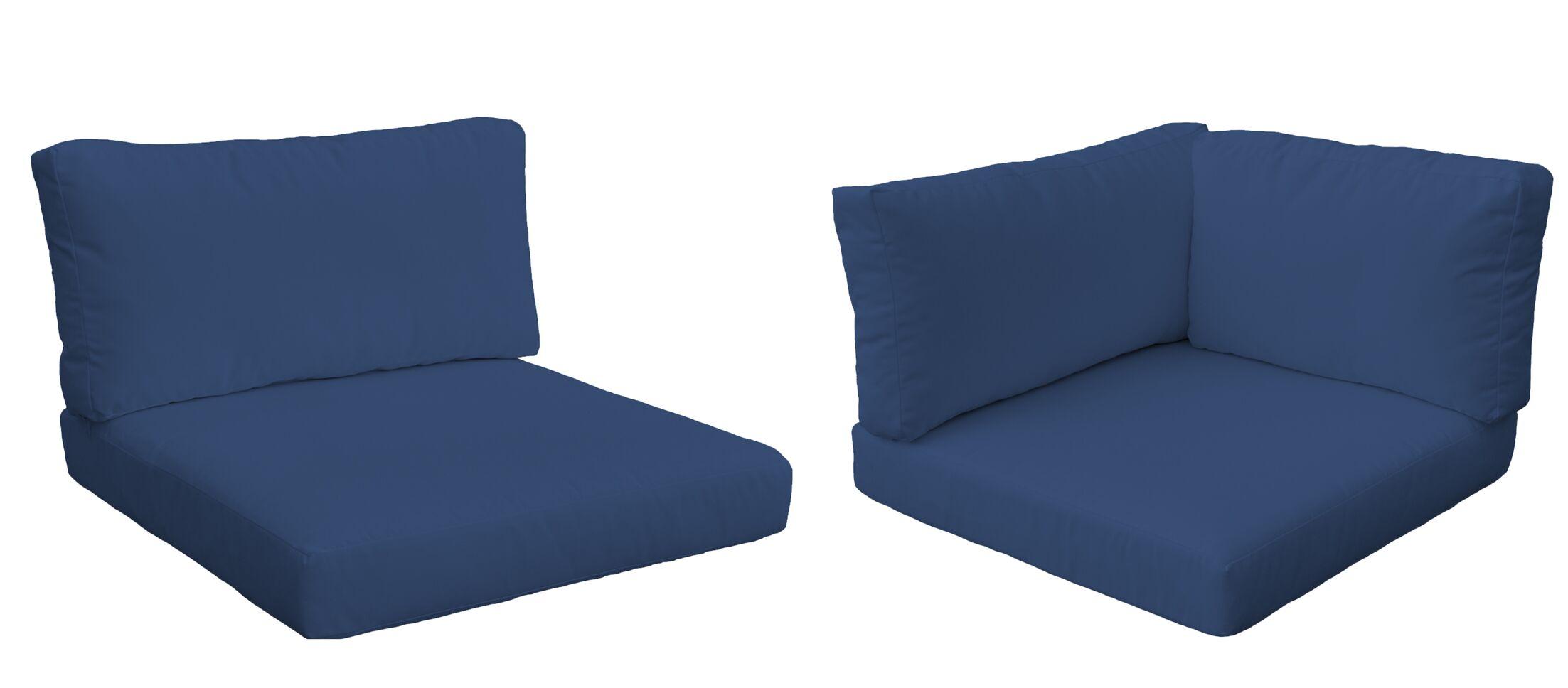 Monaco Outdoor 12 Piece Lounge Chair Cushion Set Fabric: Navy