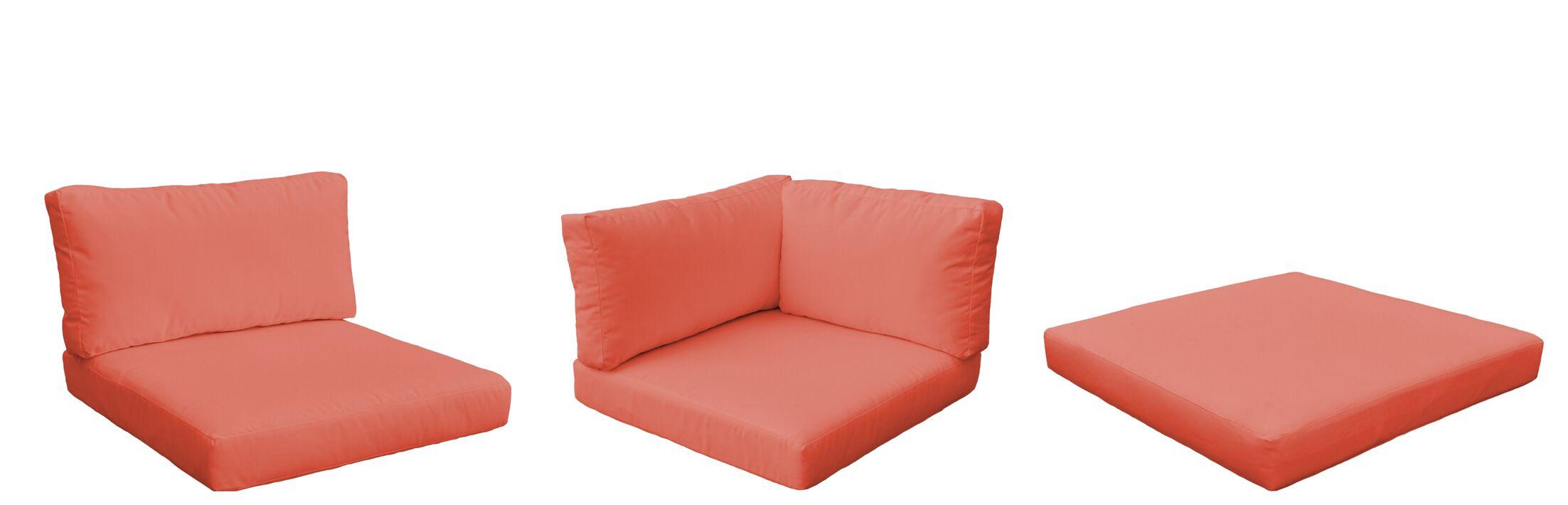 Belle 18 Piece Outdoor Lounge Chair Cushion Set Fabric: Tangerine