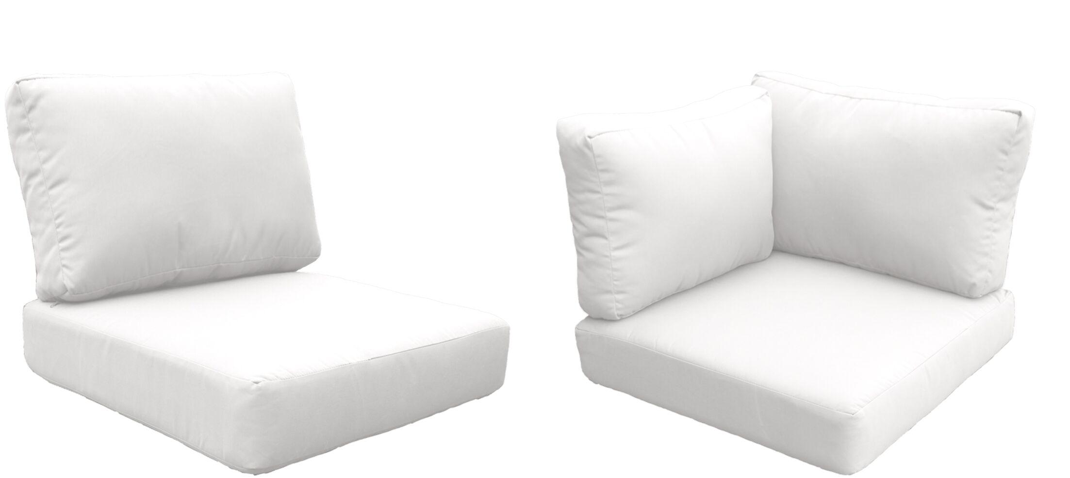 Eldredge Outdoor 10 Piece Lounge Chair Cushion Set Fabric: White