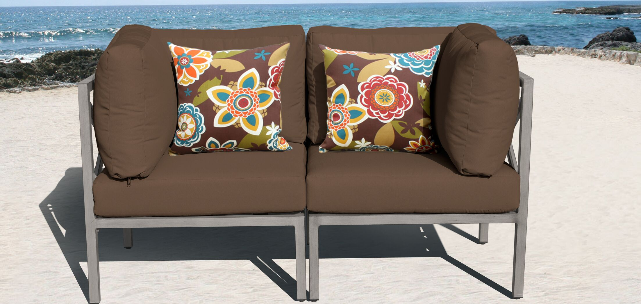 Carlisle 2 Piece Outdoor Conversation Set with Cushions Cushion Color: Cocoa