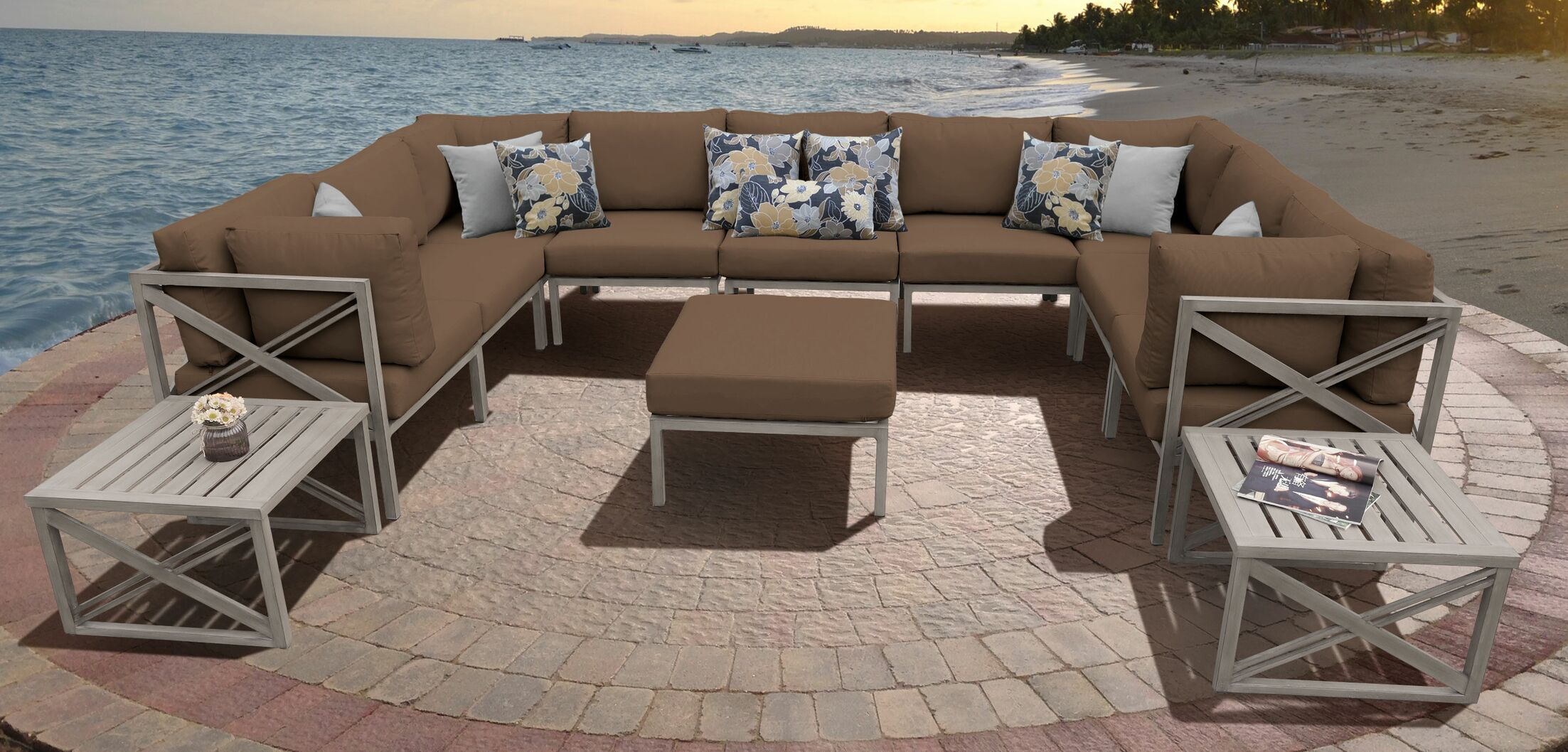 Carlisle 12 Piece Outdoor Sectional Set with Cushions Cushion Color: Cocoa