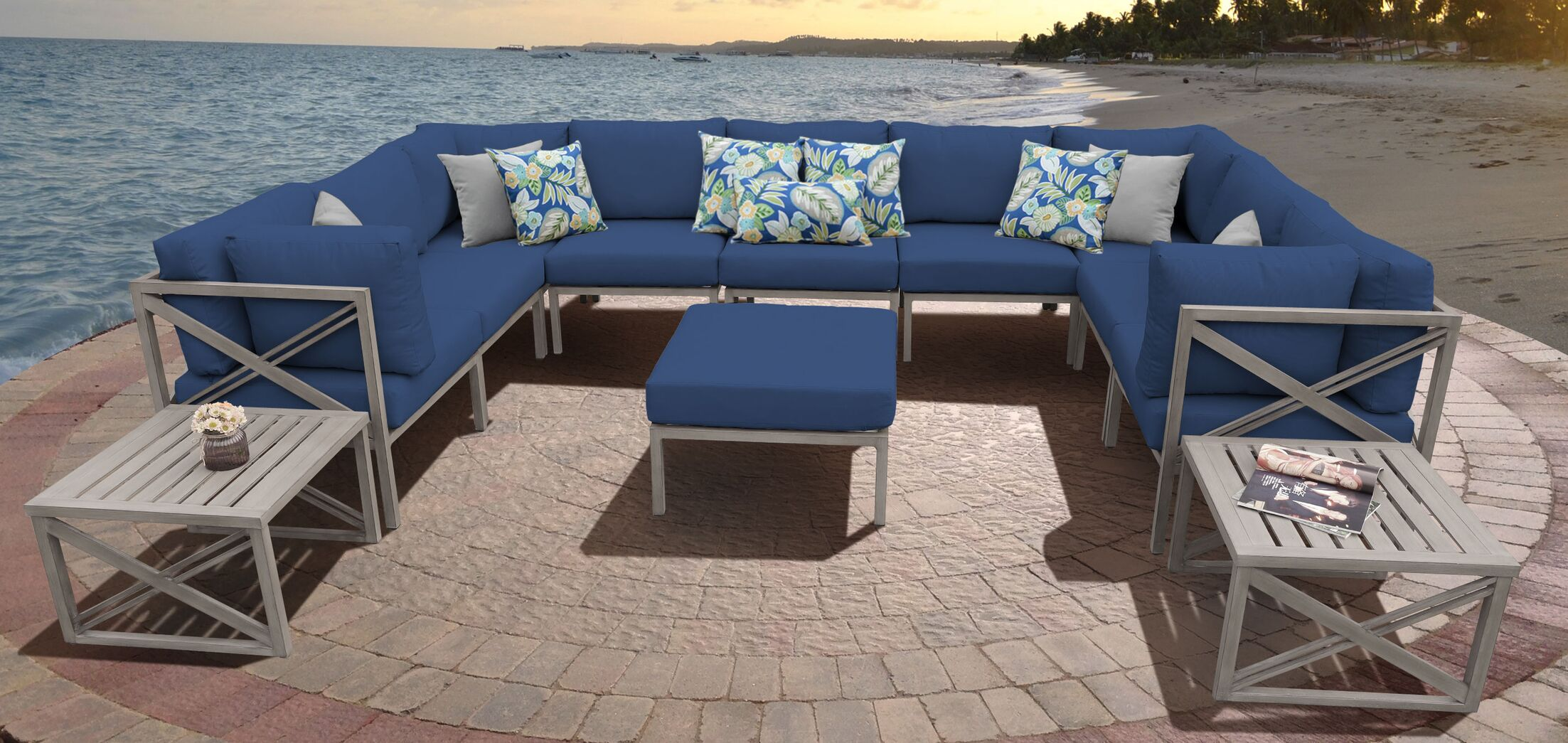 Carlisle 12 Piece Outdoor Sectional Set with Cushions Cushion Color: Navy