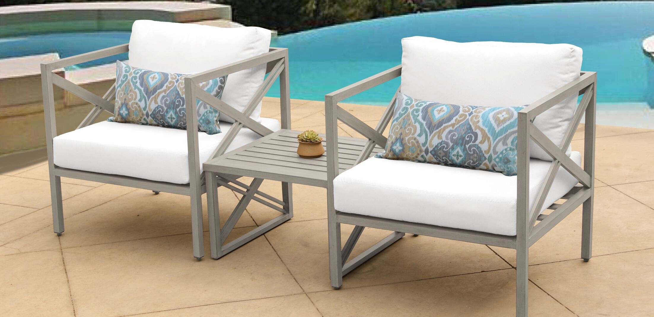 Carlisle 3 Piece Outdoor Conversation Set with Cushions Cushion Color: White