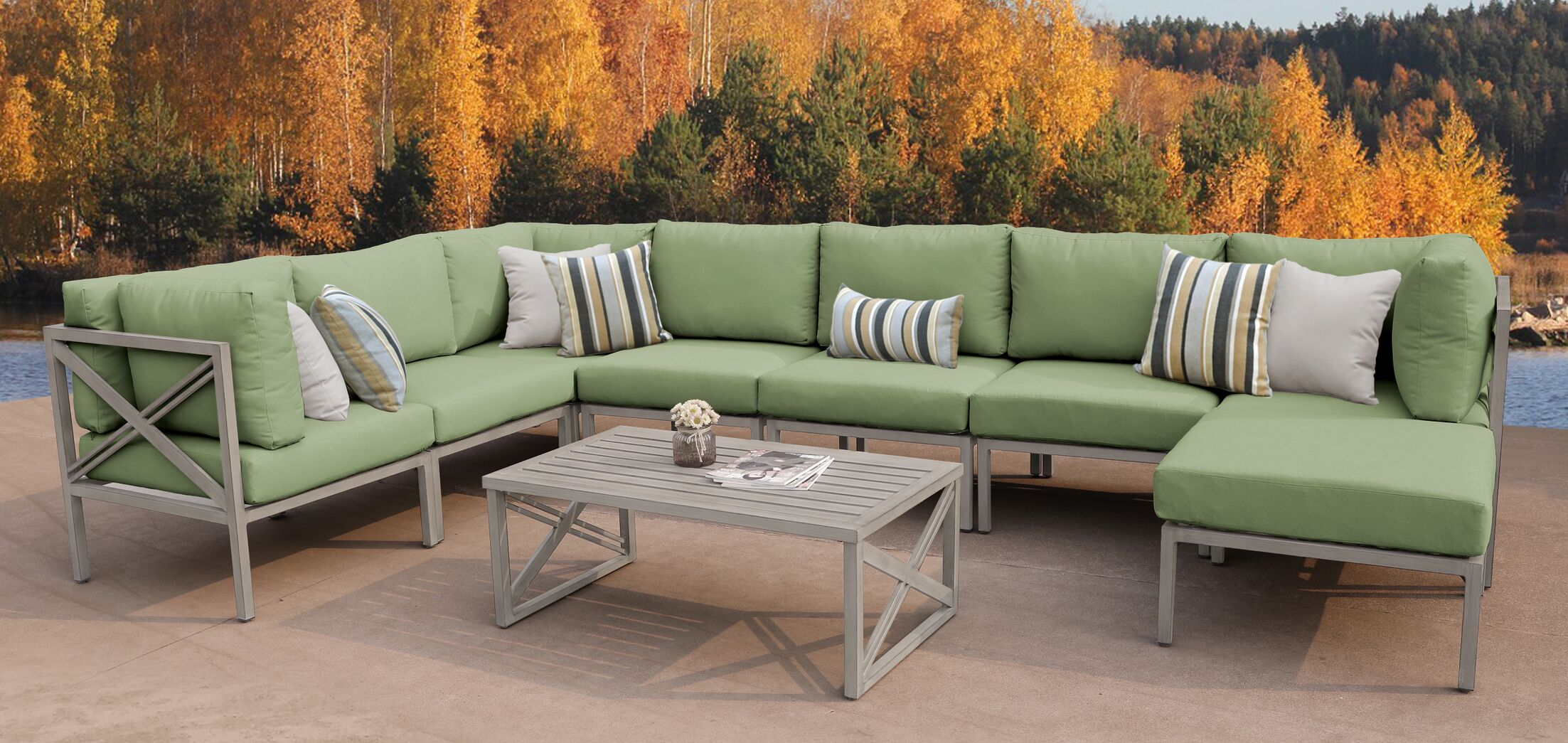 Carlisle 9 Piece Outdoor Sectional Set with Cushions Cushion Color: Cilantro