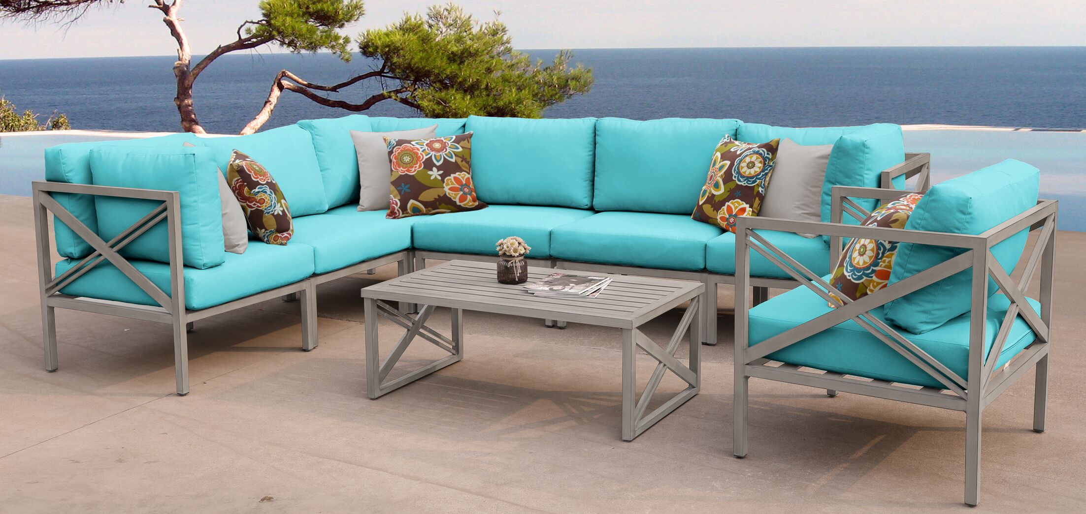 Carlisle 8 Piece Outdoor Sectional Set with Cushions Cushion Color: Aruba