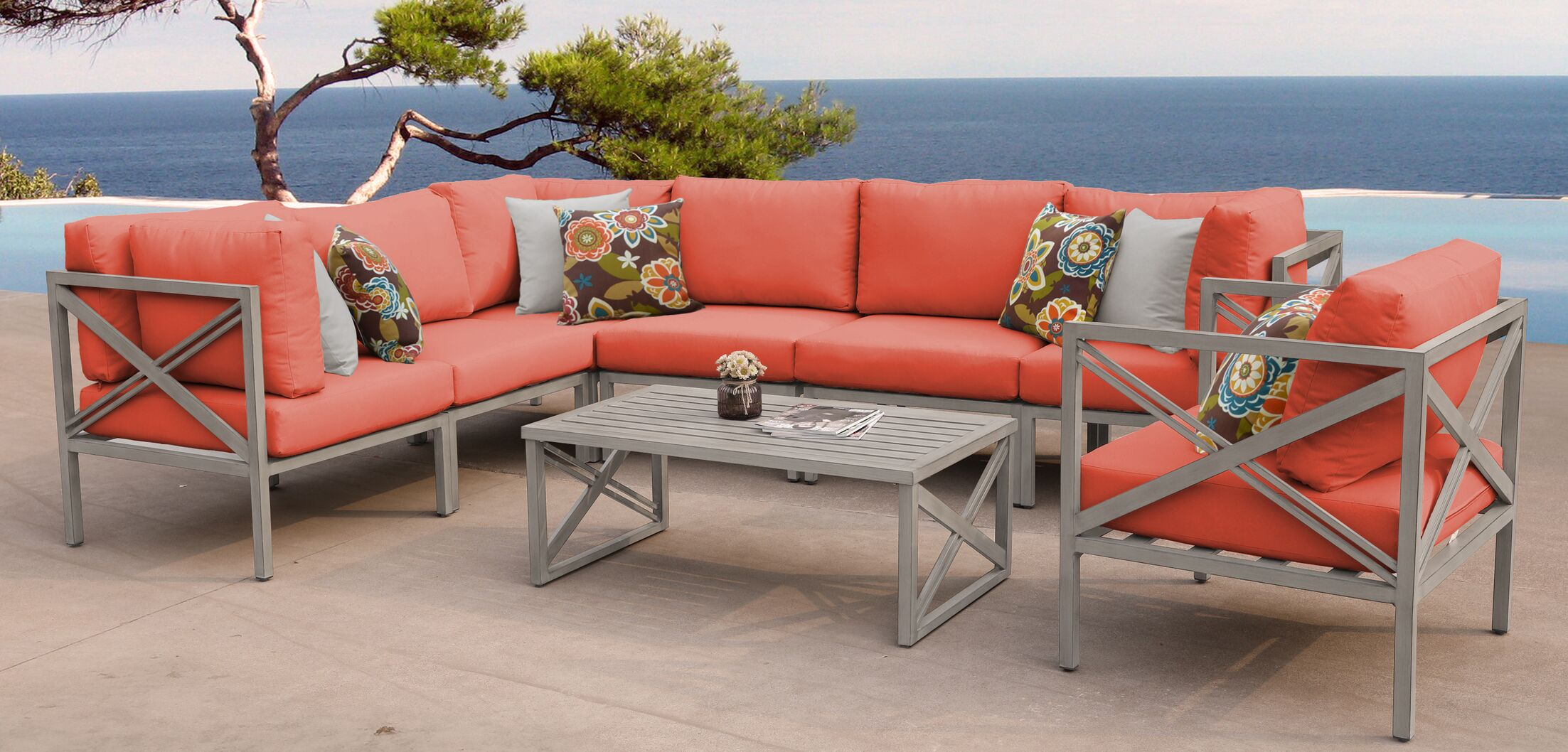 Carlisle 8 Piece Outdoor Sectional Set with Cushions Cushion Color: Tangerine