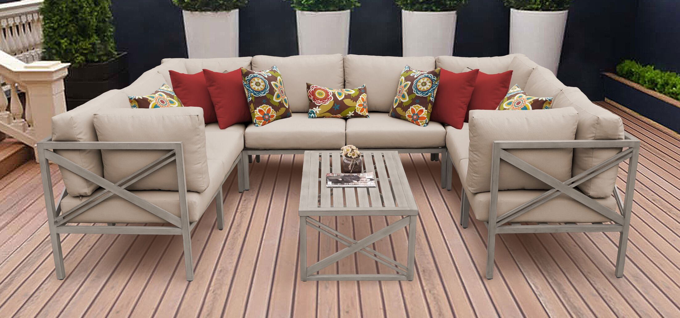 Carlisle 9 Piece Outdoor Sectional Set with Cushions Cushion Color: Wheat
