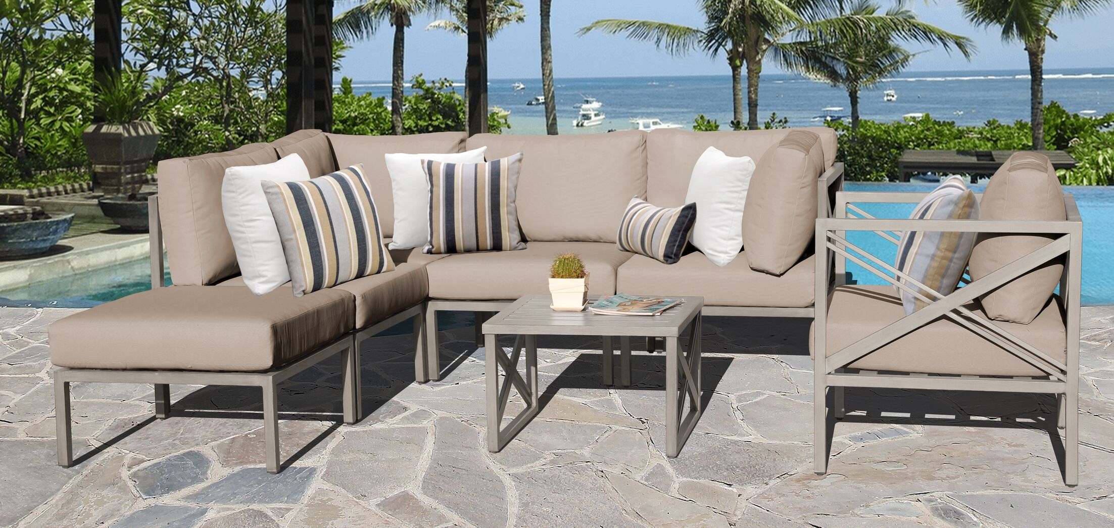 Carlisle 7 Piece Outdoor Sectional Set with Cushions Cushion Color: Wheat
